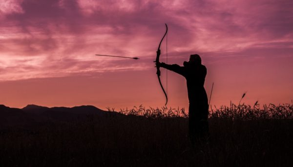 Hunter with bow and arrow