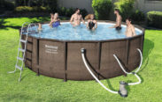 """Bestway 14' x 42"""" Power Steel Frame Above Ground Swimming Pool Set with Pump"""
