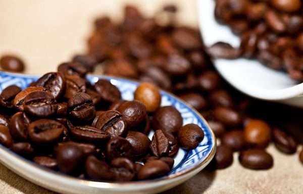 Roasted coffee beans on a plate