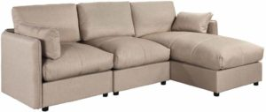 Casa Andrea Milano Upholstered Modern L Shape Sectional With Chaise