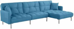Casa Andrea Modern Linen Fabric Futon Sectional Sofa Blue