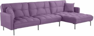 Casa Andrea Modern Linen Fabric Futon Sectional Sofa Purple