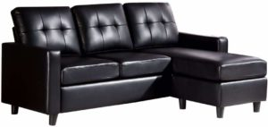 HONBAY Convertible Faux Leather Sectional Sofa Black