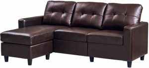 HONBAY Convertible Faux Leather Sectional Sofa Brown