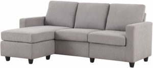 HONBAY L-Shaped Convertible Sectional Sofa Light Grey