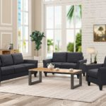 Harper&Bright Designs 3 Piece Living Room Set Black