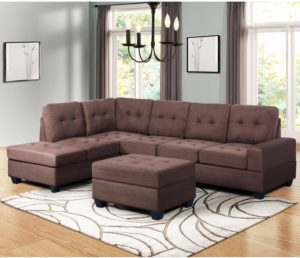 Harper&Bright Designs 3-Piece Living Room Set Brown