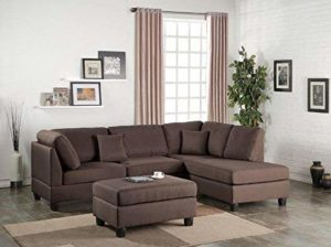 Poundex Bobkona Dervon Sectional with Ottoman Chocolate