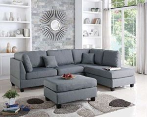 Poundex Bobkona Dervon Sectional with Ottoman Grey