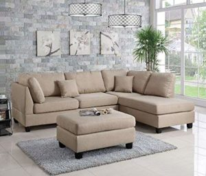 Poundex Bobkona Dervon Sectional with Ottoman Sand