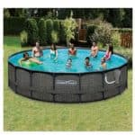 Summer Waves Elite Wicker 18ft x 48in Round Above Ground Frame Pool Set