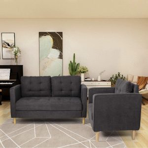AODAILIHB Modern Soft Cloth Tufted Cushion Loveseat Sectional Sofa Set