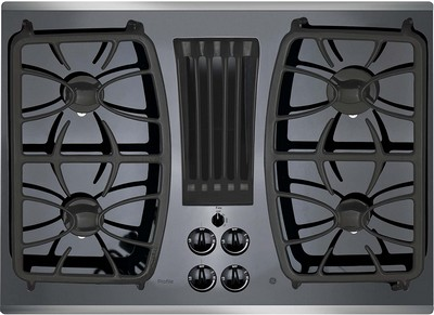 "GE Profile 30"" Gas Downdraft Black Glass Top Stainless Steel Trim"