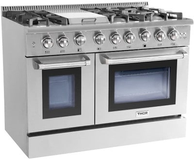 """Thor Kitchen 48"""" 6 Burner Gas Range With Double Oven and Griddle"""