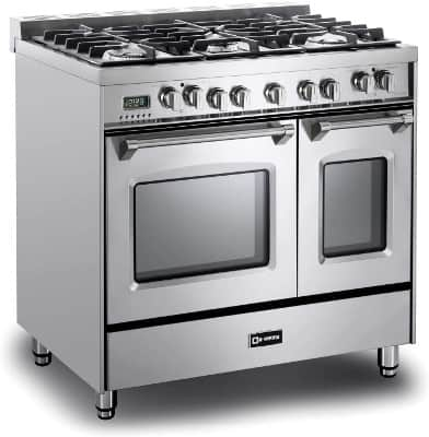 Verona Prestige Series VPFSGE365DSS 36 inch Dual Fuel Range 5 Sealed Burners Double Oven Stainless Steel