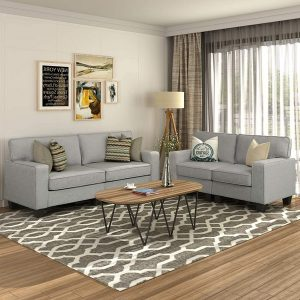 P Purlove Grey 2 Piece Sofa and Loveseat Set