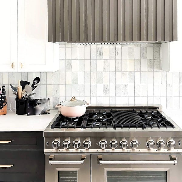 kitchen with double oven gas range